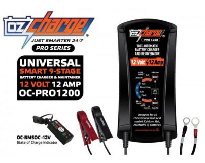 Oz Charge Pro Series 12 Volt / 12 Amp 9-Stage Battery Charger and Maintainer