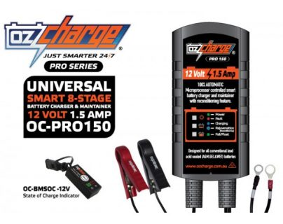 Oz Charge Pro Series 12 Volt / 1.5 Amp 8-Stage Battery Charger and Maintainer – Trickle Charger