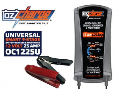 Oz Charge 12 Volt / 25 Amp 9-Stage Battery Charger, Maintainer & Power Supply